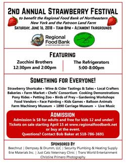 2nd Annual Strawberry Festival June 16th, 2018 at the Altamont Fairgrounds