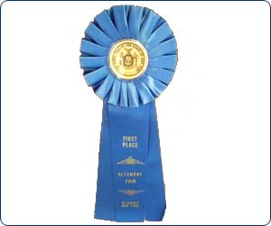 blue ribbon first place ribbon at The Altamont Fair